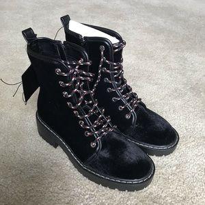 NWT Velvet Combat Boots
